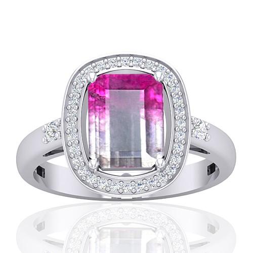14K White Gold 2.13 cts Emerald Cut 9 x 7 mm Tourmaline Gemstone Diamond Cocktail Ring