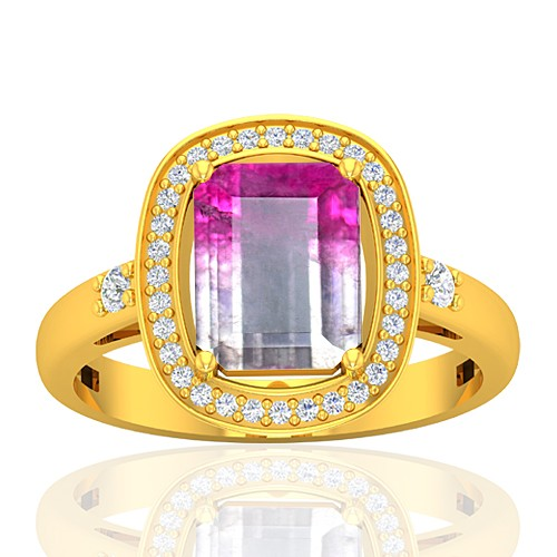 18K Yellow Gold 2.13 cts Emerald Cut 9 x 7 mm Tourmaline Gemstone Diamond Cocktail Ring