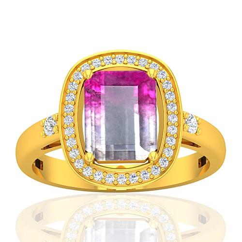 18K Yellow Gold 2.13 cts Emerald Cut 9 x 7 mm Tourmaline Gemstone Diamond Cocktail Ring