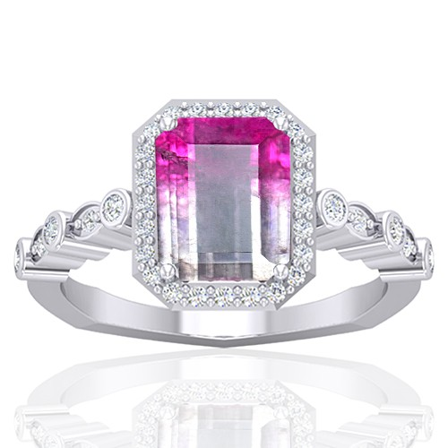 14K White Gold 2.13 cts 9 x 7 mm Tourmaline Gemstone Diamond Women Wedding Ring