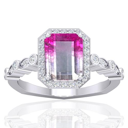 14K White Gold 2.13 cts 9 x 7 mm Tourmaline Gemstone Diamond Women Wedding Ring