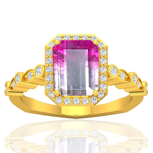 18K Yellow Gold 2.13 cts 9 x 7 mm Tourmaline Gemstone Diamond Women Wedding Ring