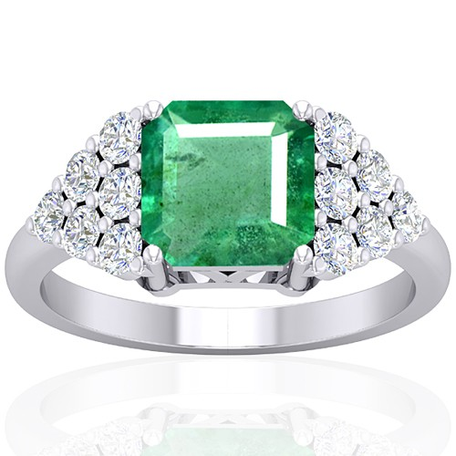 14k White Gold 2.29 cts Emerald Stone Diamond Vintage Engagement Designer Fine Ring