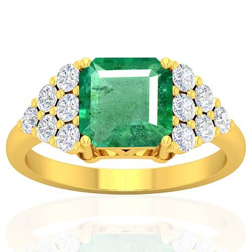 18k Yellow Gold 2.29 cts Emerald Stone Diamond Vintage Engagement Designer Fine Ring