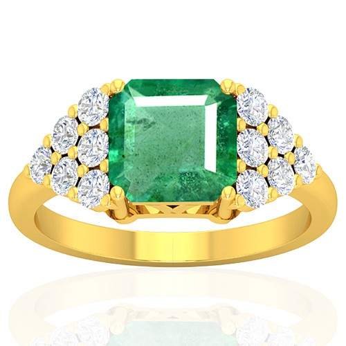 18k Yellow Gold 2.29 cts Emerald Stone Diamond Vintage Engagement Designer Fine Ring