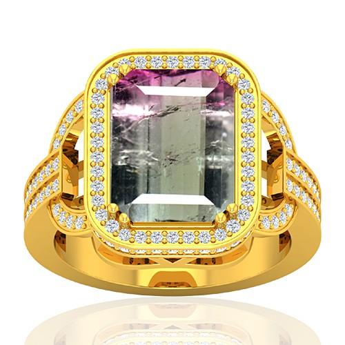 18K Yellow Gold 5.03 cts Tourmaline Stone Diamond Wedding Designer Fine Jewelry Ring