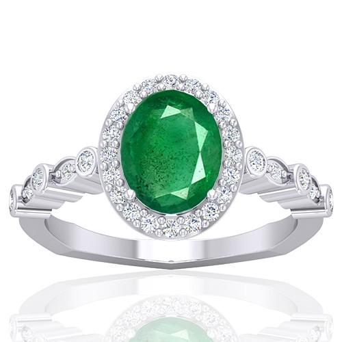 14K White Gold 1.82 cts Emerald Gemstone Diamond Designer Fine Jewelry Ring