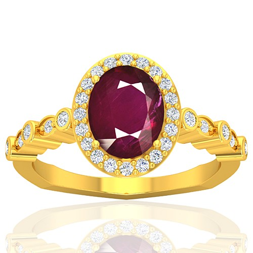 18K Yellow Gold 2.08 cts Ruby Stone Diamond Women Wedding Designer Fine Jewelry Ring