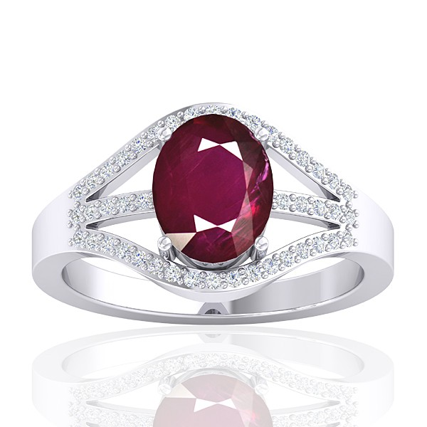 14K White Gold 2.08 cts Ruby Stone Diamond Cocktail Vintage Fine Jewelry Ring