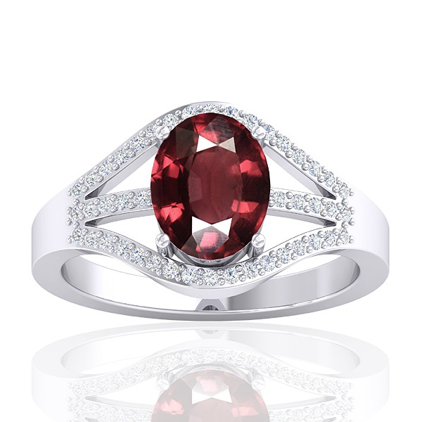 14K White Gold 2.15 cts Rhodolite Garnet Gemstone Diamond Wedding Designer Jewelry Ring
