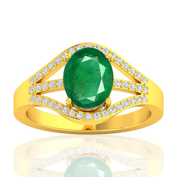 18K Yellow Gold 1.82 cts Emerald Stone Diamond Cocktail Vintage Engagement Ring