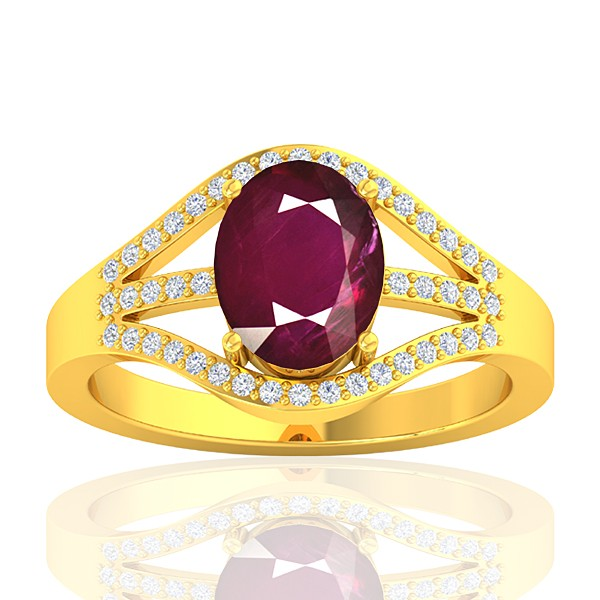 18K Yellow Gold 2.08 cts Ruby Stone Diamond Cocktail Vintage Fine Jewelry Ring