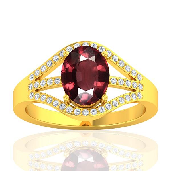 18K Yellow Gold 2.15 cts Rhodolite Garnet Gemstone Diamond Wedding Designer Jewelry Ring