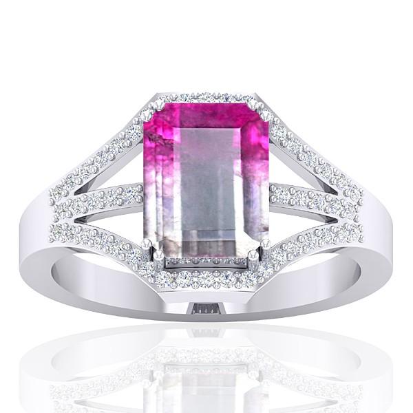 14K White Gold 2.13 cts Tourmaline Stone Diamond Cocktail Vintage Engagement Women Ring