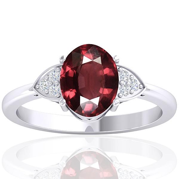 14K White Gold 2.15 cts Rhodolite Garnet Stone Diamond Women Designer Fine Jewelry Ring