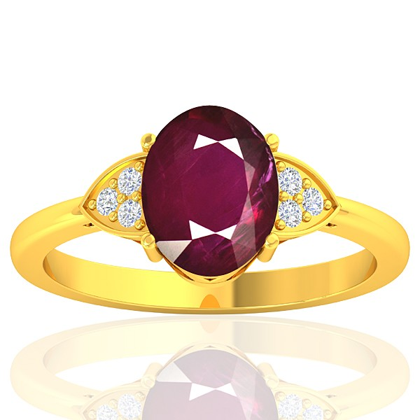 18K Yellow Gold 2.08 cts Ruby Gemstone Diamond Designer Fine Jewelry Ring