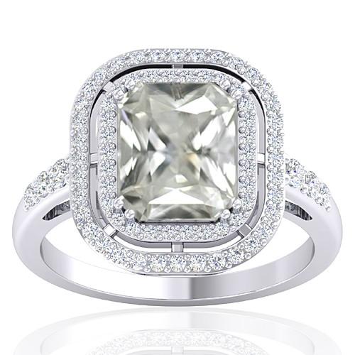 14K White Gold 3.42 cts White Sapphire Gemstone Diamond Cocktail Vintage Engagement Ring