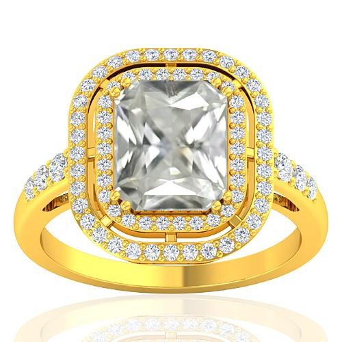18K Yellow Gold 3.42 cts White Sapphire Gemstone Diamond Cocktail Vintage Engagement Ring