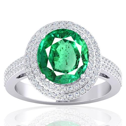 14K White Gold 4.22 cts Emerald Gemstone Diamond Engagement Women Designer Fine Jewelry Ring