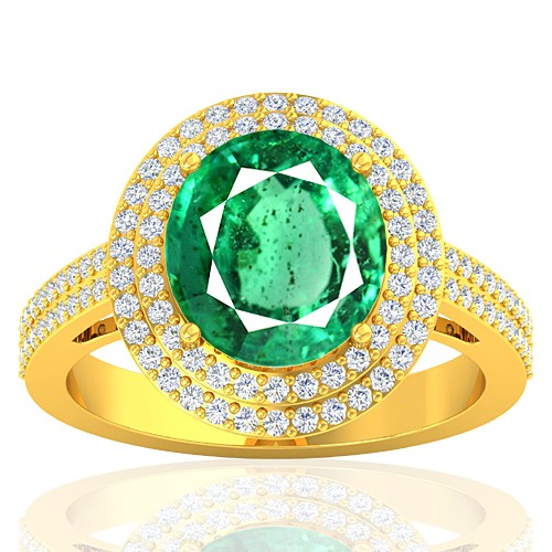 18K Yellow Gold 4.22 cts Emerald Gemstone Diamond Engagement Women Designer Fine Jewelry Ring