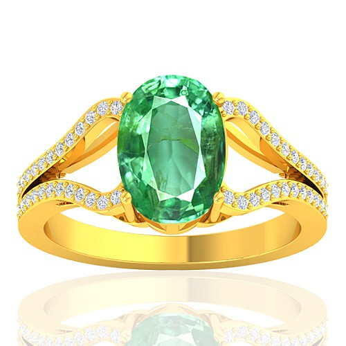 18K Yellow Gold 2.25 cts Emerald Gemstone Diamond Cocktail Vintage Women Wedding Ring