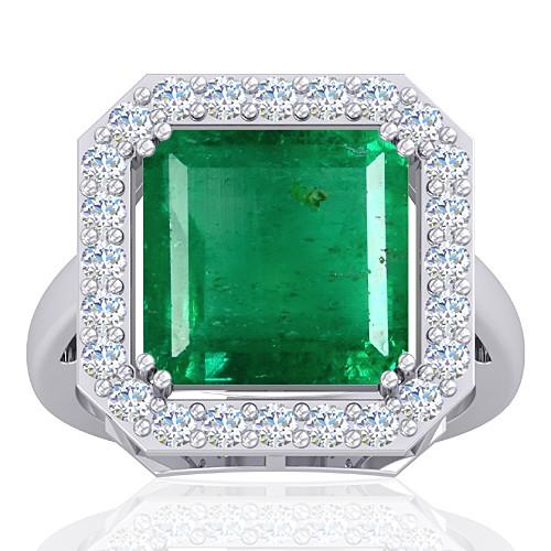 14K White Gold 6.64 cts Emerald Gemstone Diamond Cocktail Vintage Engagement Women Ring
