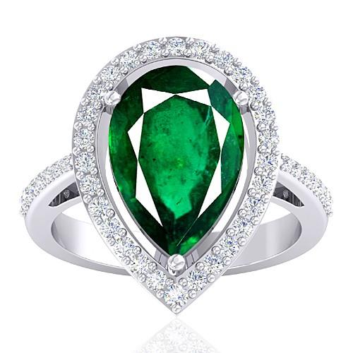 14K White Gold 5.27 cts Emerald Gemstone Diamond Women Wedding Designer Fine Jewelry Ring