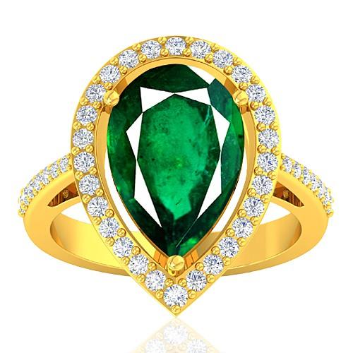 18K Yellow Gold 5.27 cts Emerald Gemstone Diamond Women Wedding Designer Fine Jewelry Ring