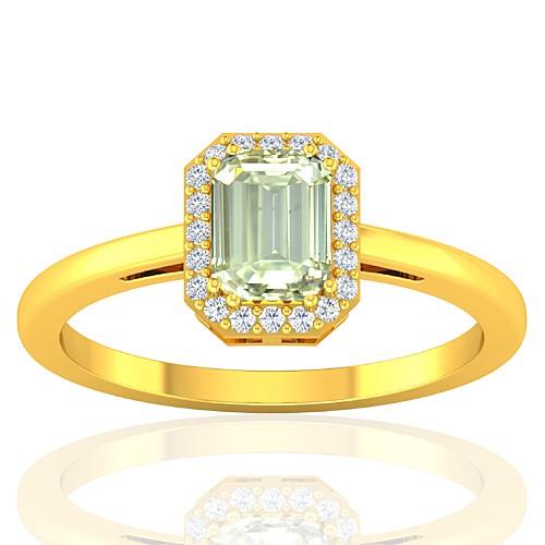 18K Yellow Gold Emerald Cut Shape 1.02 cts Diamond Wedding Designer Fine Jewelry Ring