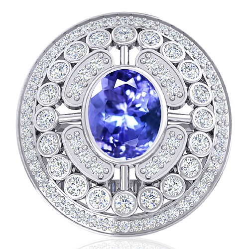 14K White Gold 2.37 cts Tanzanite Gemstone Diamond Women Engagement Wedding  Ring