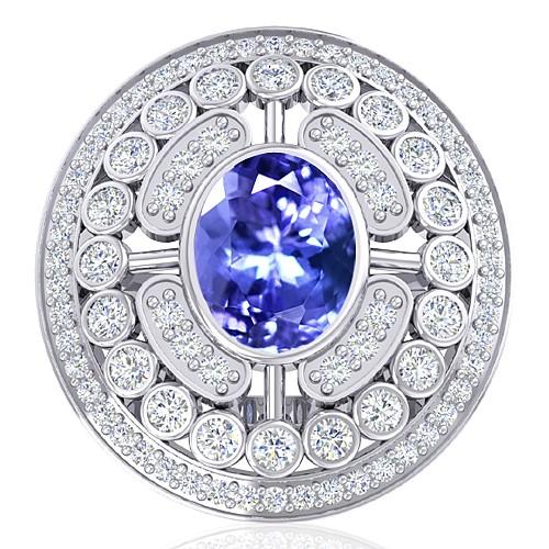 14K White Gold 2.37 cts Tanzanite Gemstone Diamond Women Engagement Wedding  Ring
