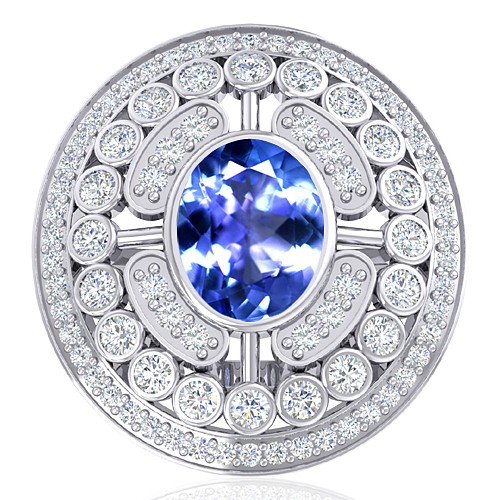 14K White Gold 1.85 cts Tanzanite Stone Diamond Women Wedding Designer Fine Jewelry Ring