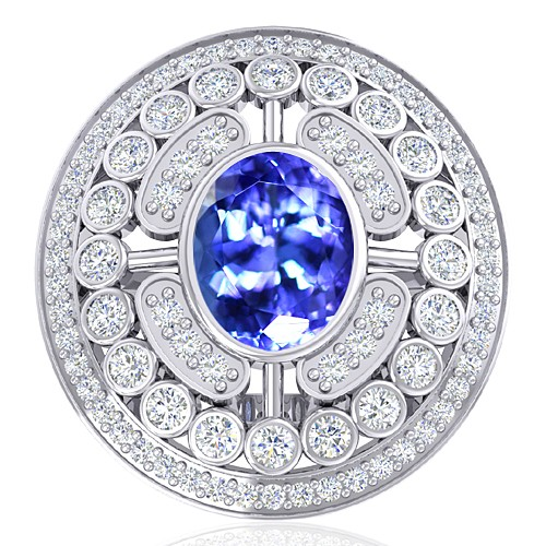 14K White Gold 2.33 cts Tanzanite Gemstone Diamond Wedding Designer Fine Jewelry Ring