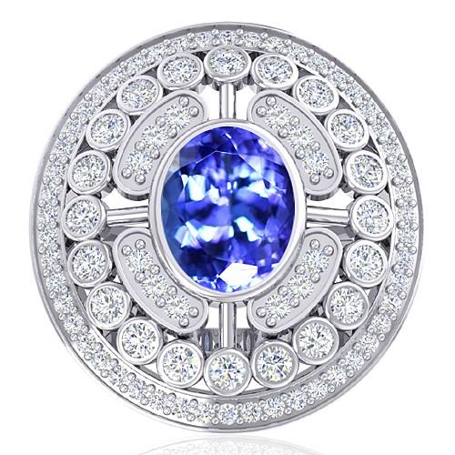 14K White Gold 2.33 cts Tanzanite Gemstone Diamond Wedding Designer Fine Jewelry Ring