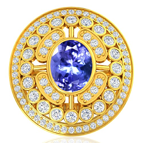 18K Yellow Gold 2.37 cts Tanzanite Gemstone Diamond Women Engagement Wedding  Ring