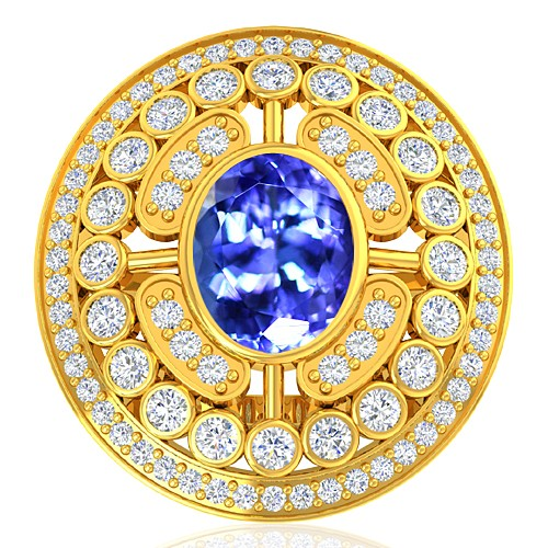 18K Yellow Gold 2.33 cts Tanzanite Gemstone Diamond Wedding Designer Fine Jewelry Ring