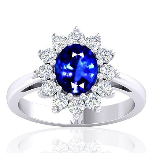 14K White Gold 1.62 cts Blue Sapphire Stone Diamond Cocktail Engagement Women Jewelry Ring