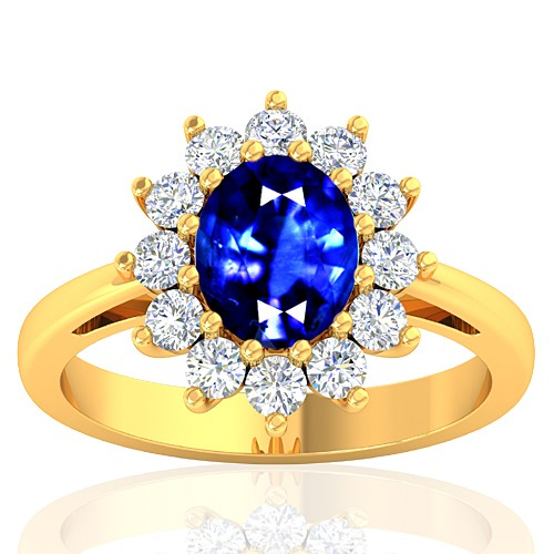 18K Yellow Gold 1.62 cts Blue Sapphire Stone Diamond Cocktail Engagement Women Jewelry Ring