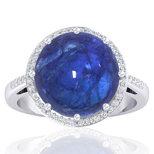 14K White Gold 9.29 cts Tanzanite Stone Diamond Women Wedding Designer Fine Jewelry Ring