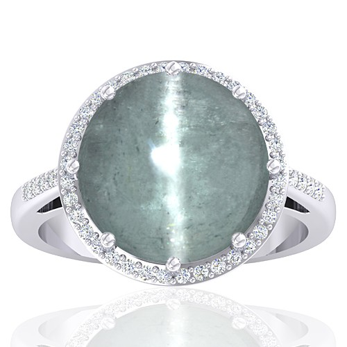 14K White Gold 10.84 cts Tourmaline Gemstone Engagement Women Wedding Fine Jewelry Ring