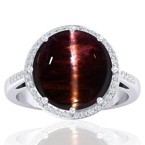 14K White Gold 10.03 cts Tourmaline Stone Diamond Cocktail Vintage Women Designer Jewelry Ring