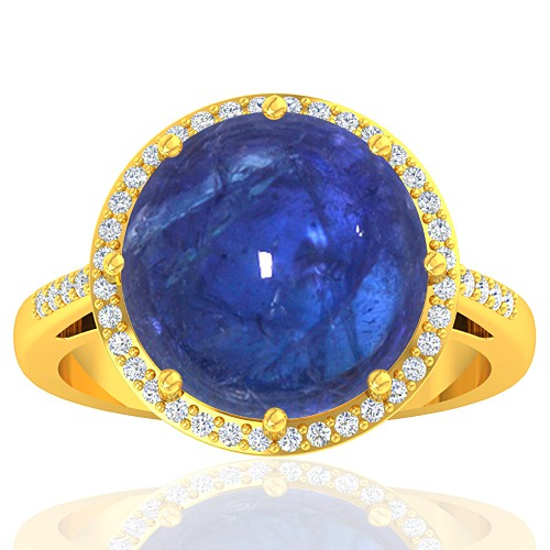 18K Yellow Gold 9.29 cts Tanzanite Stone Diamond Women Wedding Designer Fine Jewelry Ring