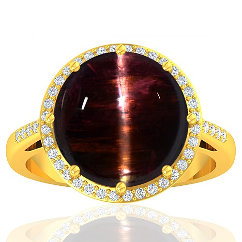 18K Yellow Gold 10.03 cts Tourmaline Stone Diamond Cocktail Vintage Women Designer Jewelry Ring