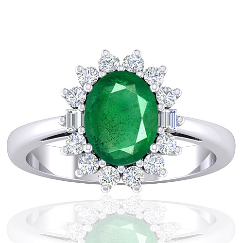 14K White Gold 1.82 cts Emerald Gemstone Diamond Cocktail Vintage Ring