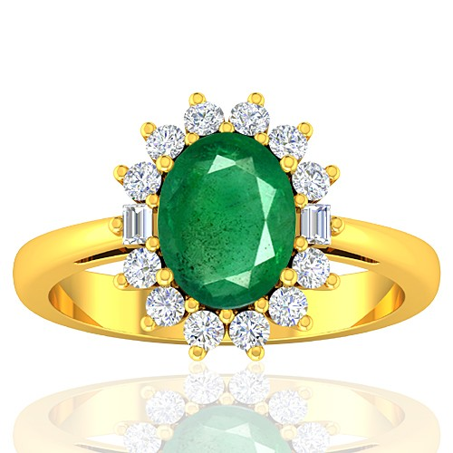 18K Yellow Gold 1.82 cts Emerald Gemstone Diamond Cocktail Vintage Ring