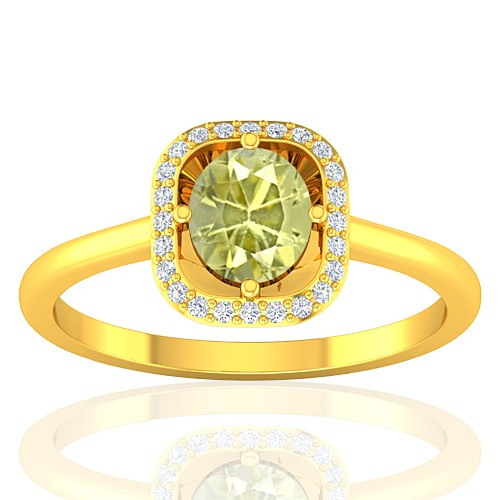 18K Yellow Gold 1.01 cts Yellow Sapphire Gemstone Diamond Cocktail Fine Jewelry Ring