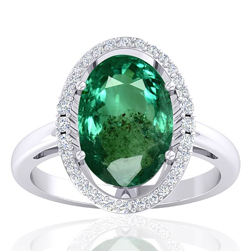 14K White Gold 3.62 cts Emerald Stone Diamond Designer Fine Jewelry Ring