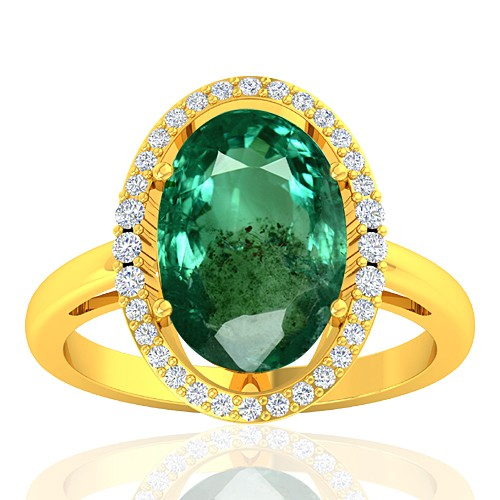18K Yellow Gold 3.62 cts Emerald Stone Diamond Designer Fine Jewelry Ring