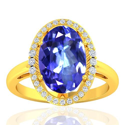 18K Yellow Gold 3.31 cts Tanzanite Gemstone Diamond Women Wedding Fine Jewelry Ring
