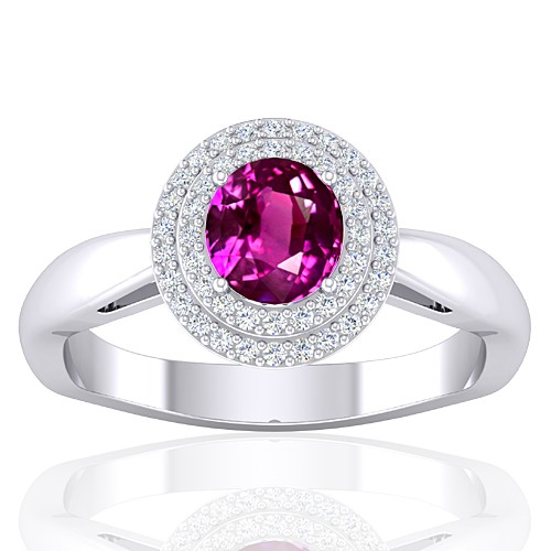 14K White Gold 1.29 cts Pink Sapphire Gemstone Diamond Cocktail Vintage Women Ring